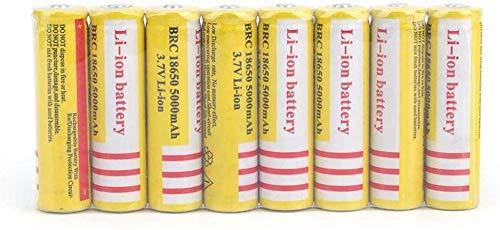 Batería de Litio Recargable 18650 3.7V 5000mAh Baterías de botón de Gran Capacidad para Linterna LED Iluminación de Emergencia Dispositivos electrónicos, etc. 8 Piezas (Amarillo)