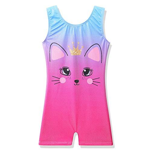 BAOHULU Leotard for Girls Gymnastics Kids Sparkle Tank Biketards with Shorts Dance Outfit B234_PinkCat_130