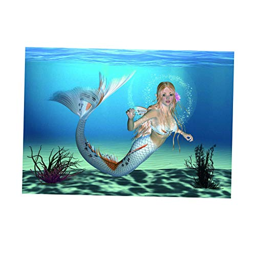 non-brand Sharplace Aquarium Autocollant de Poisson 3D Océan Sirène Fond Affiche pour Réservoir Chambre Murale - S