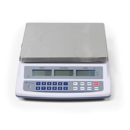 ABDPRO ABD Balance – Báscula contador alcance 15 kg/precisión 0,5 g – Báscula profesional de alta calidad – Gran bandeja 23 x 30 cm – 3 pantallas retroiluminadas – Autonomía de hasta 80 horas