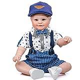 60 cm Reborn Puppe Vollsilikon Mädchen Junge,Reborn Baby Puppe Lebensecht Die Sehr Echt Aussehen Vollsilikon Neugeborene Puppe Zum Kinder Geschenk Spielzeug,Boy