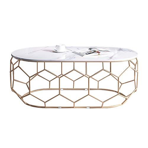 KUKU-mesas de centro Mesa de Centro de mármol Ovalada Blanca, Bandeja de Pintura para Hornear de Metal de Hierro Forjado Dorado, Apta para Sala de Estar, apartamento pequeño, 2 tamaños Disponibles