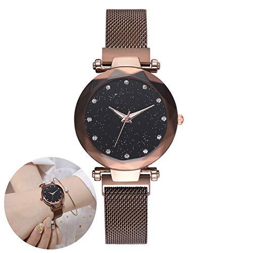 Frauen Uhren Armband Strass Armbanduhr Quarz Damenuhr Starry Sky Dial Simulierte Diamantuhren - Kaffee braun