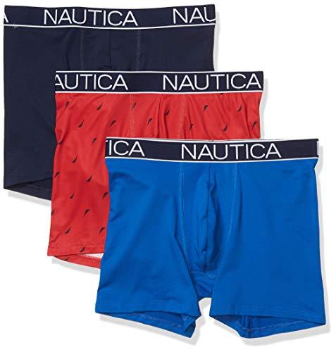Nautica Men's Brushed Poly 3 Pack Boxer Brief, Sea Cobalt/Peacoat/Sail Print Red, Medium