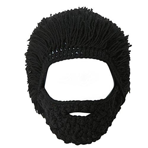 Lantra Besa Mujer Hombre Peluca Sombrero de Barba Sombrero de Punto Divertido con Cabello para Esquiar Carnaval Fiesta de Cosplay de Halloween CC0006 - Negro