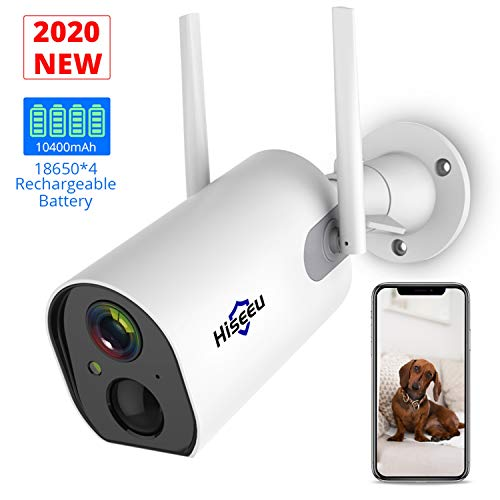 Hiseeu Wireless Outdoor Security Camera Battery Powered Rechargeable 1080P, Enhanced WiFi Home Security Cameras with Night Vision, Motion Detection,IP65 Waterproof,2-Way Audio Phone Remote Access