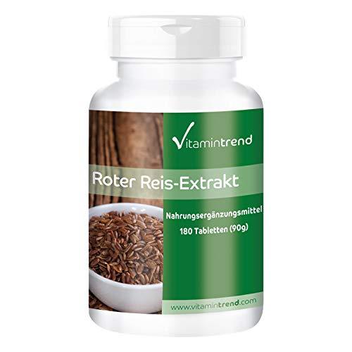 Levadura de arroz rojo – Bote para 6 MESES – 4–5 mg de monacolina K – 180 comprimidos – Ayuda a conseguir niveles normales de colesterol