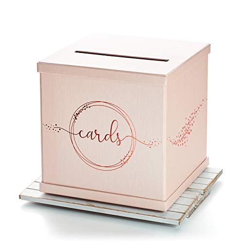"Hayley Cherie - Pink Gift Card Box with Rose Gold Foil Design- Textured Finish - Large Size 10"" x 10"" - Perfect for Weddings, Baby Showers, Birthdays, Graduation, Sweet 16, Bridal Parties"