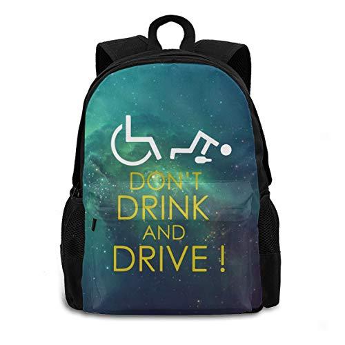 3D-Druck Rollstuhl Don't Drink And Drive Robuster Rucksack Erwachsene Schultasche Casual College Tasche Reise Reißverschluss Rucksack Wandern Schulter Daypack für Damen Herren