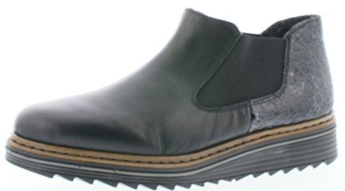 Rieker Rieker M6390 Damen Kurzstiefel, Stiefelette, Schlupfstiefel, Boot, Slip-On Boot, extra weiche Decksohle schwarz Kombi (Nero/Granit / 00), EU 36