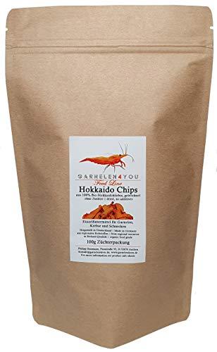 GARNELEN4YOU® Bio-Hokkaido Chips, 100 g getrockneter Kürbis, entspannte Fütterung mit hochwertigem Futter für Aquarienbewohner wie Garnelen, Krebse und Schnecken (100g)