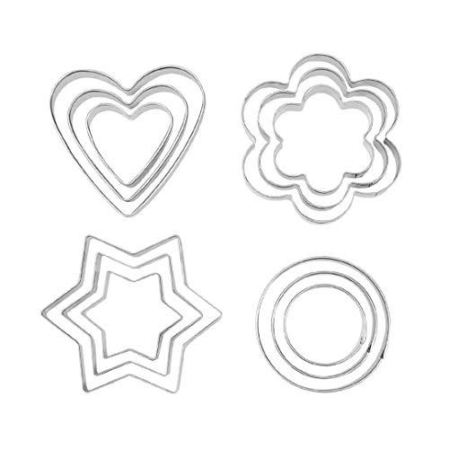 Formine per biscotti 12 pezzi set di formine per biscotti in acciaio inox formine per biscotti cuore stella cerchio stampo a forma di fiore formine per pasticceria decorazione bakeware