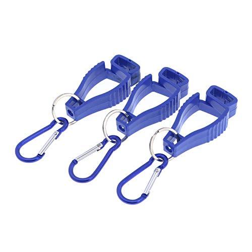 Handschuh Clips (3 Stück) Tarp Clip Grabber Halter Glove Guard sichert Arbeit Handschuh, Schutzhandschuhe, Arbeitshandschuhe vom Verlus (Karabinerhaken Blau)
