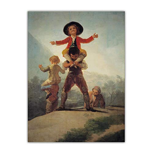 ZQXXX Francisco Goya 《El juego del caballo y el jinete》 Arte de la lona Pintura Obra de arte Imagen de fondo Decoración del hogar-50x70cm Sin marco