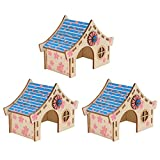 POPETPOP 3 Unidades de Casa de Hámster para Mascotas Jaula de Madera para Animales Pequeños Casa de Descanso Castillo Masticables Juguetes para Hacer Ejercicio Escalada Ratón Erizo