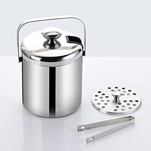 Ice Bucket Insulated with Tongs and Lids, Double Walled Vacuum Champagne Ice Bucket, Well Made Champagne Bucket Keeps Ice Frozen Longe (1PCS)