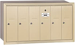 Salsbury Industries 3506SRP Recessed Mounted Vertical Mailbox with Master Commercial Lock, Private Access and 6 Doors, Sandstone