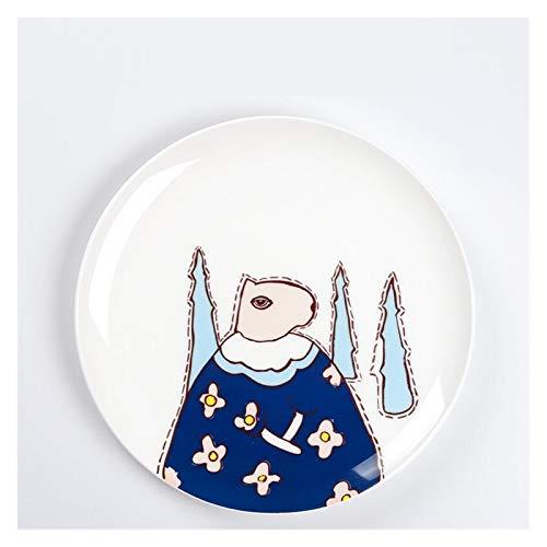 YINGYINGSM Plato de Cena 8 Pulgadas Bone China Plato de Porcelana de vajilla niños creativos Cena Desayuno Plato Postre patrón de Pequeños Animales Cocina (Color : L, Plate Size : 8 Inches)