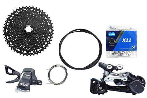JGbike Compatible MTB groupset for Shimano M7000 11 Speed shifters & Rear Derailleur, KMC X11 Chain,Sunrace 11-46T CSMS8 Cassette Black