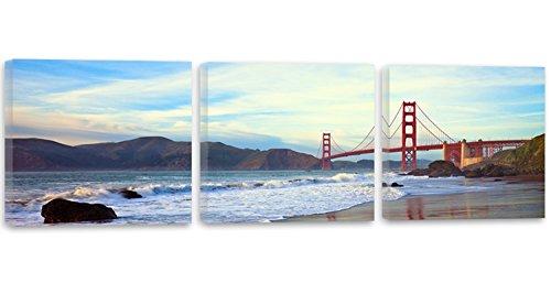Feeby Frames, Cuadro en Lienzo - 3 Partes - Panorámico, Cuadro impresión, Cuadro decoración, Canvas 120x40 cm, EL Puente Golden Gate, Puente, San Francisco, Agua, MONTAÑA, Vista, Azul, MARRÓN