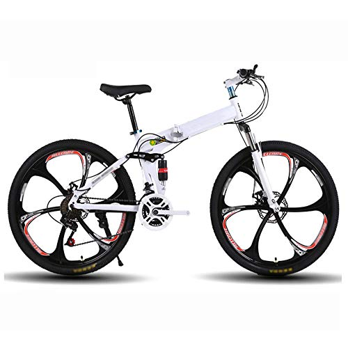 Folding Bicycle 26 Inches 21 Speed,Mountain Bike Male and Female Student,Double Disc Brake Full Shockingproof Kid's Bicycle