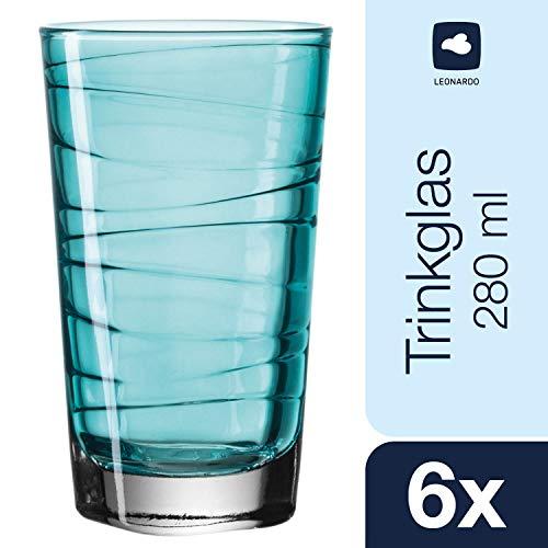 Leonardo Vario Struttura Becher groß Laguna, 6-er Set, 280 ml, türkisfarbenes Klarglas mit Colori-Hydroglasur, 018238
