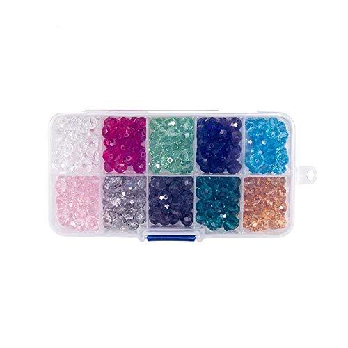 10 Colores Cuentas de Cristal Facetado Fabricación de Joyas Kit de Cuentas de Vidrio para Hacer Pulseras, Manualidades, DIY, Collares, Bisutería, 6 mm