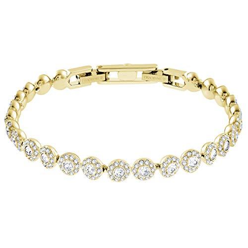 Swarovski Angelic Square Armband, Weißes und Vergoldetes Damenarmband mit Funkelnden Klaren Swarovski Kristallen