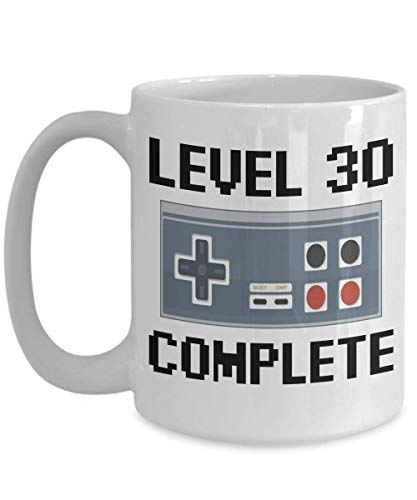 Level 30 Complete Video Gamer, Happy Birthday Coffee Mug, 30 Years Old Gifts for Boys, 30th Birthday for Girls, 30th Birthday Gifts for Him Boys