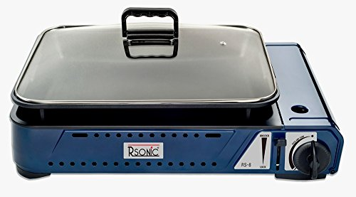 Rsonic Deluxe tragbarer Gasgrill mit Grillpfanne + Glasdeckel RS-8