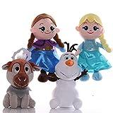LANZZ 4 Unids / Set Frozen Princess Anna Elsa Muñecas Muñeco De Nieve Olaf Sven Juguetes De Peluche De Peluche