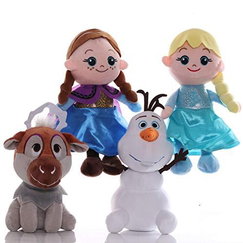 qiegui 4 Unids / Set Frozen Princess Anna Elsa Muñecas 20 Cm Muñeco De Nieve Olaf Sven Juguetes De Peluche De Peluche De Juguete Suave Regalo para Niños
