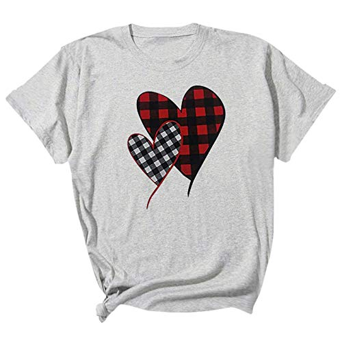 Women's Valentine's Day T Shirts Love Heart Plaid Printed Shirt Tee Cute Holiday Sweatshirts Blouse Tunics Plush Trench Blazers Horn Buckle Snowboarding Oversized Cashmere(Gray,XXL)