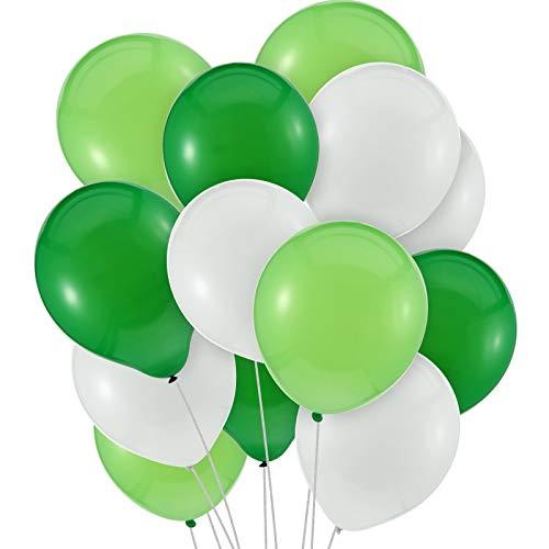 Conjunto de Globos de Fiesta en Dinosaurio 300 Piezas 10 Pulgadas Globos de Látex Globos Blancos Verde Claro y Verde Oscuro para Cumpleaños Boda Fiesta de Bienvenida a Bebé