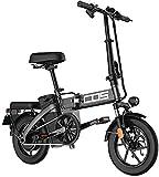 Bicicleta eléctrica de nieve, Adultos bicicleta eléctrica plegable Ebikes Ebike Ligero 350W 48V 18.8Ah Con 14 pulgadas de pantalla LCD Tire & Con Guardabarros Batería de litio Playa Cruiser para adult