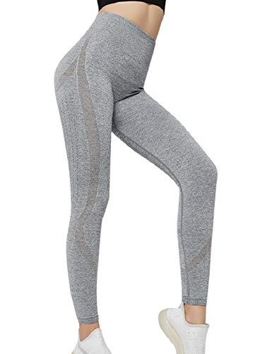 Voqeen Femme Pantalon Yoga Longue Legging Anti-Cellulite Collants et Leggings de Sport Pantalon de Yoga Taille Haute Creux Confortable et Respirant Fitness Push up Legging Sudation(Grise,S)