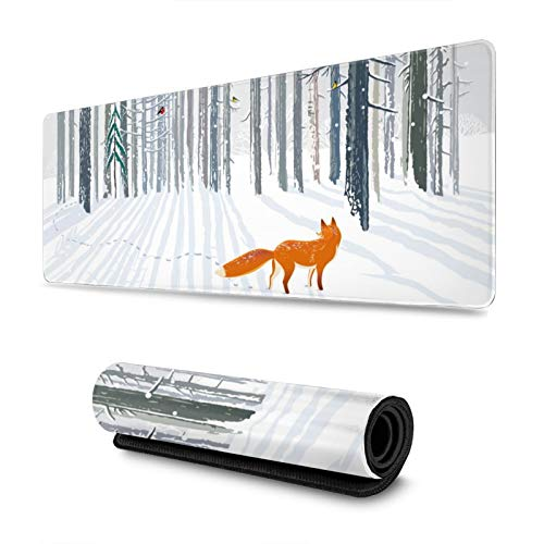 Winter Forest Landscape Red Fox Gaming Mouse Pad, Long Extended XL Mousepad Desk Pad, Large Non Slip Rubber Mice Pads Stitched Edges, 31.5'' X 11.8''