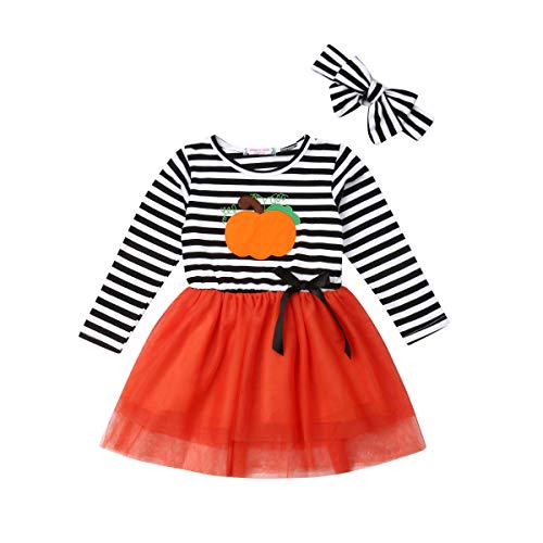 Toddler Kid Baby Girls Halloween Outfit Long Sleeve Pumpkin Dress Sundress Princess Dress Headband Clothes Set (1-2Y, Halloween B)