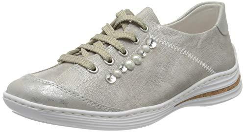 Rieker Damen Frühjahr/Sommer M3503 Slip On Sneaker, Grau (Silver/Frost/ 80 80), 42 EU