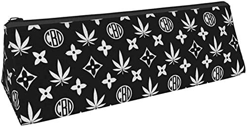 Estuche para bolígrafos triangular, blanco y negro, con estampado de cannabis, para guardar objetos pequeños en la escuela, oficina, viajes o maquillaje.