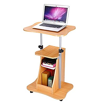 Yescom Adjustable Height Rolling Mobile Stand Laptop Desk Cart w/Storage Office