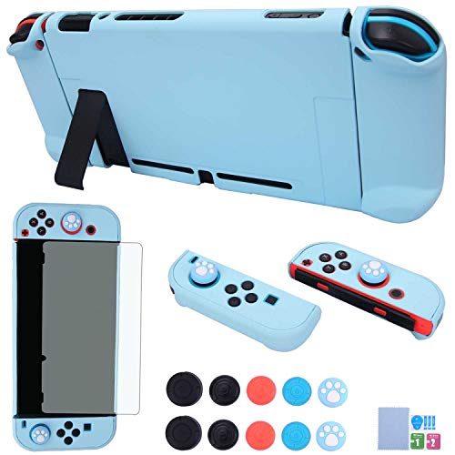 Dockable Case for Nintendo Switch - COMCOOL 3 in 1 Protective Cover Case for Nintendo Switch and Joy-Con Controller with Screen Protector and Thumb Grips - Blue