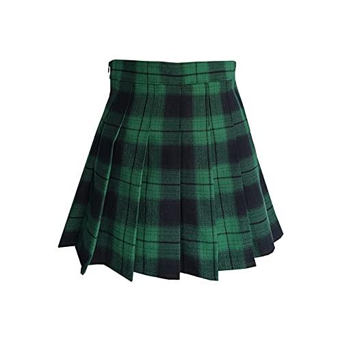 ZHANCHTONG Women's High Waist A-Line Pleated Mini Skirt Short Tennis Skirt (Green Plaid 03, L)