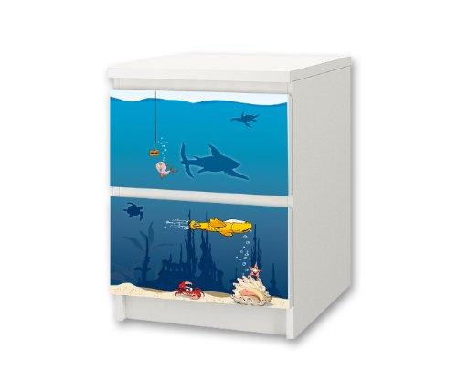 Undervattensvärld möbelklistermärke/dekal för barnkammare kommode/nattbord MALM från IKEA – NS36 – möbler ingår inte   STIKKIPIX