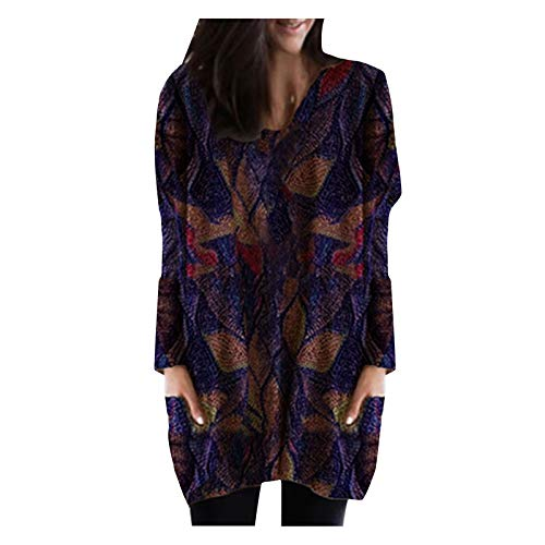 Chejarity Vestido de mujer de manga media con estampado retro, manga larga, informal, cuello redondo, túnica, morado, XL