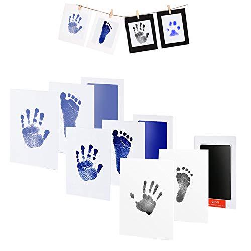 3pcs Baby Handabdruck und Fußabdruck Set, Stempelkissen, Druckkarten, mit Papier-Bilderrahmen Set, Babyhaut kommt nicht mit Farbe in Berührung, Ungiftig Inkless, Taufe Geschenk für Neugeborene