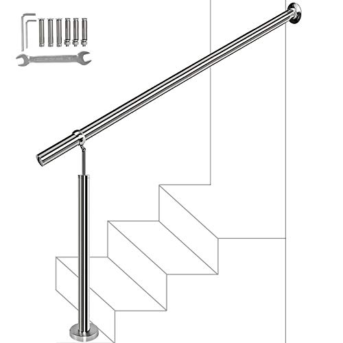 Handrails 1-4 Step,304 Brushed Stainless Steel Handrail Railing,Wall&Floor Mounted Handrail,Stair Rail with Installation Kit Hand Rails for Outdoor Steps Silver, 59x35.5 inch