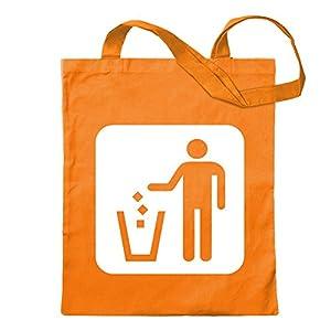 Kiwistar - Pictogramas de eliminación de basura, bolsa de yute, impresión diseño estampado Naranja Size: 30cm