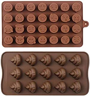 2pcs set Emoji Chocolate Mold Poop Shaped Candy Making Mold Cute Silicone Baking Mould Ice Cube Tray Mini Pudding Gummy Maker