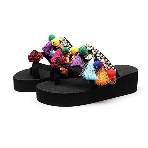 NVSRZTX Damen Pantoletten Wedges Sandalen Stil Flip Flops Mädchen Perle Hausschuhe Strandschuhe,Cottonball,36